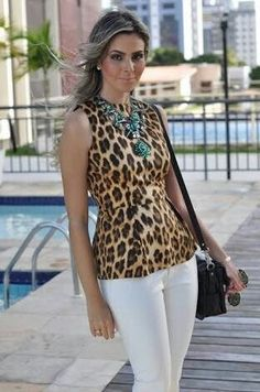 Pin by garden of dreams on fashion cala cala branca ona Leopard Print Outfits, Animal Print Outfits, Animal Print Fashion, Fashion Prints, Fashion 2017, Daily Fashion, Fashion Outfits, Womens Fashion, Blusas Animal Print