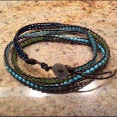 Blue - Green Beaded Wrap Bracelet Blue - Green Beaded Wrap Bracelet Jewelry Bracelets