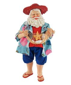 This Beach Party Santa Claus Figurine is perfect! #zulilyfinds Christmas Pageant, Christmas Store, Disney Halloween, Vintage Halloween, Beach Fun, Beach Party, Inch Beach, Santa Figurines, Velvet Pumpkins