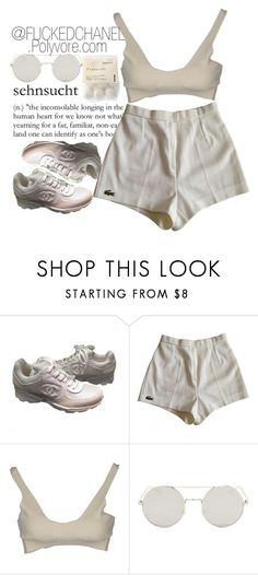 """""""• I want to do a nipple piercing. ••"""" by fuckedchanel ❤ liked on Polyvore featuring Chanel, Lacoste and Alexander Wang"""