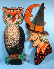 2 Large Halloween Die Cut Cardboard Decorations Owl Witch Luhrs Beistle 1940 50s