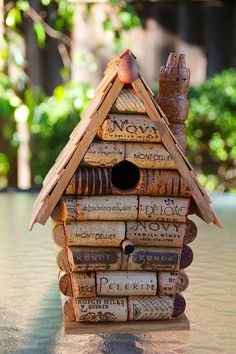 Birdhouse made from recycled wine corks.