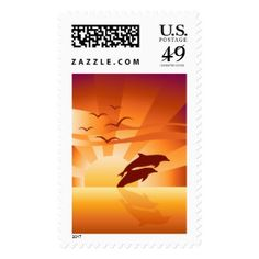 Dolphin Sunset Postage Stamp