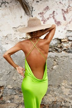 Neon lime slinky slip midi dress with back detail - Lima Dress – Rat & Boa USA Neon Dresses, One Piece, How To Wear, Clothes, Outfits, Lima, Rat, Ticks, Resort Style