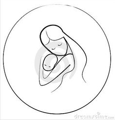 Mother and child icon in circle frame by Lapencia, via Dreamstime