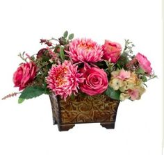 Silk Flower Arrangement with Roses and Mums in Deep Pink - ARWF1292