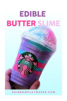 How to make Edible Starbucks Butter Slime! This is a super fun and easy way to make edible slime for a slime party or birthday celebration! #easyslime #edibleslime #howtoslime #fluffyslime #diyslime #slimeparty #rainbowplaymaker |rainbowplaymaker.com Slime No Glue, Diy Slime, Butter Slime Diy, Edible Crafts, Diy Crafts, Play Maker, Edible Slime, How To Make Slime, Birthday Celebration