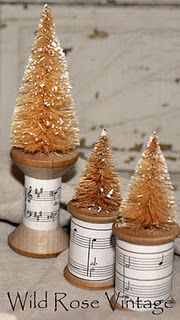"Tutorial on how to ""antique"" inexpensive bottle brush trees."