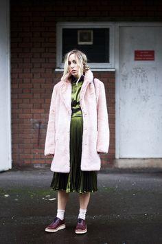 Green Metallic Pleated Dress & Pink Faux Fur: #brogues #fauxfur #pleated #dress #pink