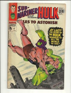 Tales To Astonish Incredible Hulk Marvel Comics 1966 Sub-Mariner VG Hulk Comic, Marvel Comic Books, Comic Book Heroes, Marvel Characters, Comic Books Art, Comic Art, Ms Marvel, Marvel Dc Comics, Marvel Heroes