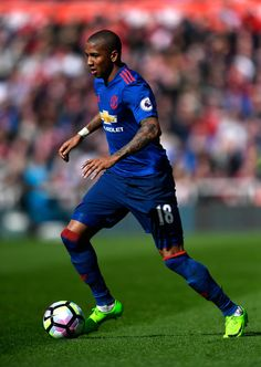 Ashley Young of Manchester United in action during the Premier League match between Middlesbrough and Manchester United at Riverside Stadium on March 19, 2017 in Middlesbrough, England.