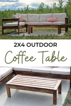 Super easy to make 2x4 outdoor table - no Kreg Jig required! Free plans by Ana-White.com. #anawhite #anawhiteplans #diy #diyfurniture #coffeetable #outdoorcoffeetable Outdoor Coffee Tables, Outdoor Farmhouse Table, Dark Wood Coffee Table, Cool Coffee Tables, Outdoor Sofa, Outdoor Patio Designs, Outdoor Ideas, Outdoor Decor, Diy Outdoor Furniture