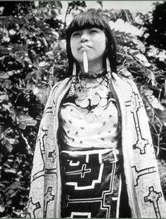 Peru | Shipibo-Conibo girl.  Ucayali River, Amazon rainforest | Photographer unknown