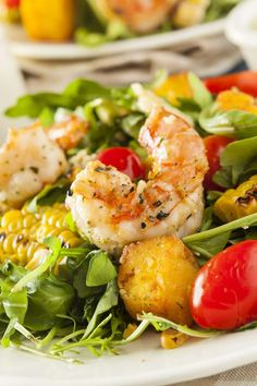 Buy Healthy Shrimp and Arugula Salad by on PhotoDune. Healthy Shrimp and Arugula Salad with Corn and Tomatoes Salad Recipes, Diet Recipes, Healthy Recipes, Lidl, Good Food, Yummy Food, Arugula Salad, Avocado Salad, Healthy Salads