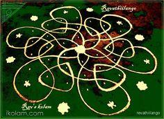 Rangoli 7 to 4 intermediate dots.: Rev's easy chikku by revathiilango Kolam Rangoli, Simple Rangoli, Rangoli Designs, Dots, Fish, Telugu, Flowers, Color, Type