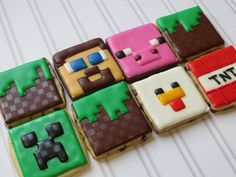 minecraft cookies Minecraft Cookies, Minecraft Birthday Cake, Minecraft Cake, Skins Minecraft, Mine Craft Party, 6th Birthday Parties, 10th Birthday, Birthday Fun, Birthday Ideas