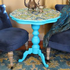 Turn a thrift store side table into a thing of beauty with fabric, Maxx Gloss paint and decoupage medium.