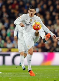 James Rodriguez of Real Madrid controls the ball during the La Liga match between Real Madrid CF and FC Barcelona at Estadio Santiago Bernabeu on...