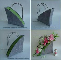 DIY Beautiful Handbag Style Candy Flower Basket from Cereal Box Flower Crafts, Diy Flowers, Flower Decorations, Flower Art, Paper Flowers, Beautiful Flower Arrangements, Floral Arrangements, Fleurs Diy, Flower Packaging