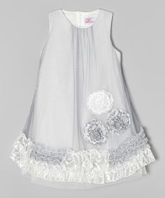 Look what I found on #zulily! White & Gray Lace Ruffle A-Line Dress - Toddler & Girls #zulilyfinds