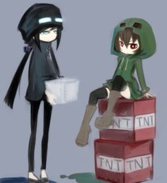 Minecraft Enderman and Creeper