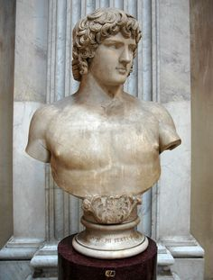 Antinous, beloved of Emperor Hadrian, (colossal) Roman bust (marble), 2nd century AD, (Musei Vaticani, Vatican City).