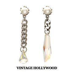 vintage hollywood Pearl n Chain Crystal Drop Earring]