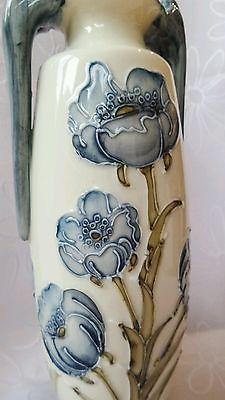 """Vintage Cream Blue flowers glaze double handle Chinese Vase 8.5"""" Moorcroft style"""