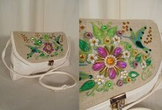 1960s Enid Collins Bag// Jeweled// Cross Body Bag// Humming Bird// Shoulder Bag// White Purse// Enid Collins of Texas// Jeweled Floral Bag