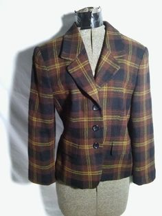 10 Jones New York Worsted Wool Button Up Jacket Blazer Black Brown Plaid EUC #JonesNewYork #Blazer