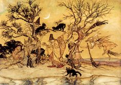 The Witches Sabbath; original illustration but not used in The Legend of Sleepy Hollow; 1924