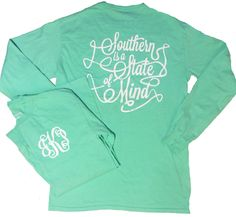 Southern Is A State Of Mind Monogrammed Long Sleeve Tee – United Monograms