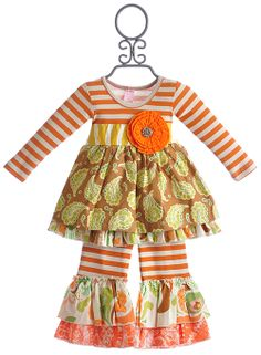 Giggle Moon Harvest Party Madison Dress with Ruffle Pant - PREORDER