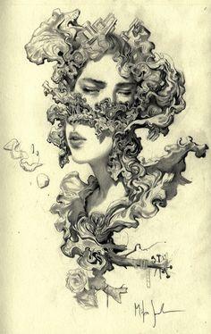 Beauty Illustration, Urban Sketchers, Wireframe, Tattoo Drawings, Art Drawings, Tattoo Art, Miles Johnston, Illustrator, Disney Kunst