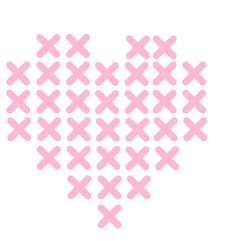 borduur je muursticker - hartje - kruissteek