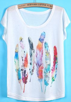 White Short Sleeve Feather Print T-Shirt