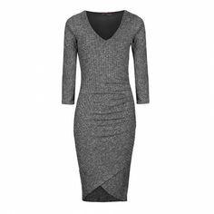 Ribbed long sleeve ruched bodycon dress at Ally Fashion