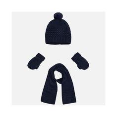 3-delige set. Gebreide muts met pompom, sjaal en wanten in donkerblauw.