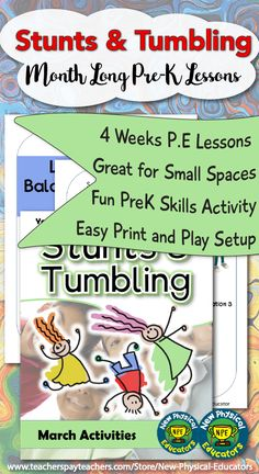 """Woah there, don't look down or you'll lose your balance! This Stunts and Tumbling unit is packed full of fun and games that will get your Pre-Kindergarten P. These super exciting """"done-for-you"""" lesson plans are part of my April Pe Lesson Plans, Kindergarten Lesson Plans, Pre Kindergarten, Physical Education Activities, Pe Activities, Down Syndrome Activities, Pe Games Elementary, Preschool Gymnastics, Pe Lessons"""