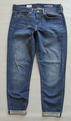 "GAP 1969 Sexy Boyfriend Jeans 27 4 Bright Blue wash Denim Medium Ankle 27"" 2012 #GAP #Boyfriend"