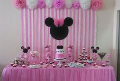 Birthday cake simple girl minnie mouse New Ideas Minnie Mouse Birthday Decorations, Minnie Mouse Theme Party, Minnie Mouse First Birthday, Minnie Mouse Baby Shower, Mickey Birthday, 2nd Birthday Party For Girl, Birthday Parties, Cake Birthday, Birthday Kids
