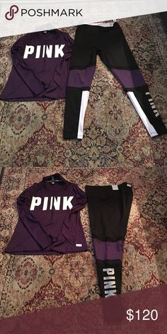 Pink Victoria's Secret Ultimate Outfit NWT Pink Victoria's Secret Ultimate Large Half Zip Top And High Waist Leggings Comfortable Fit PINK Victoria's Secret Other