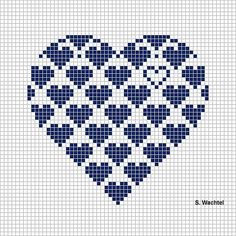 Heart in cross stitch - would make it so the hearts at the tops of the curves were complete(Top Crochet Simple) Cross Stitching, Cross Stitch Embroidery, Hand Embroidery, Cross Stitch Designs, Cross Stitch Patterns, Heart Patterns, Beading Patterns, Embroidery Patterns, Cross Stitch Heart