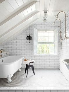 bathroom - large, open double shower with clawfoot tub