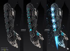 Energy Blade Gauntlet weapon design for ALTER TITAN - upcoming RPG game fueled by your fitness! This weapon was part of the game's first community challenge, where the players submitted back stories and weapon ideas to be chosen to be developed. Ninja Weapons, Anime Weapons, Sci Fi Weapons, Zombie Apocalypse Weapons, Robot Concept Art, Armor Concept, Weapon Concept Art, Fantasy Armor, Fantasy Weapons