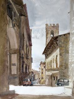 Arezzo, 56x42cm, 2008 www.minhdam.com #architecture #watercolor #watercolour #art #artist #painting #arezzo #tuscany #italy