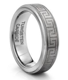 6MM Tungsten Carbide Silver Greek Key Celtic Wedding Band Ring (Available Sizes 4-11 Including Half Sizes) . $34.95. Polished Tungsten. Available in Sizes from 4 through 11 Including Half Sizes. Comfort Fit Design. 60 Day Money Back Guarantee. Laser Engraved Greek Key Design
