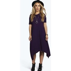Boohoo Plus Plus Moira Hanky Hem Swing Dress ($20) ❤ liked on Polyvore featuring dresses, plum, cami dress, purple dress, bodycon dress, evening dresses and purple cocktail dress