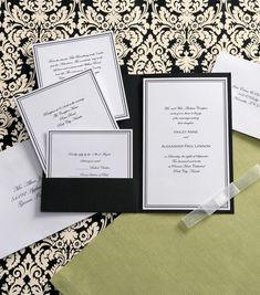 4708a8601aaa Vintage Wedding Invitations Etsy Pocket Invitation