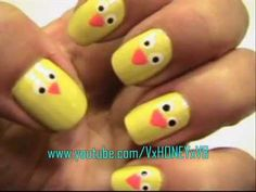Easy Easter Chick Nails!!! Bebe'!!! Cute for Easter!!!